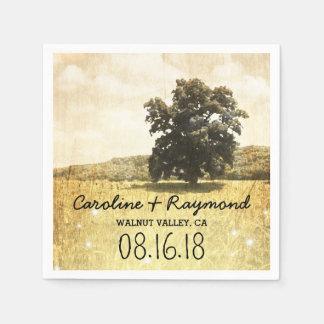 Rustic Tree in Enchanted Firefly Meadow Wedding Paper Napkin