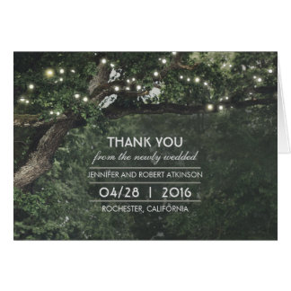Rustic Tree Lights Wedding Thank You Card