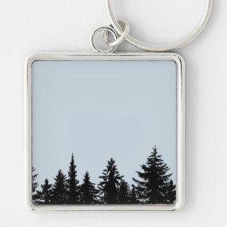 Rustic Tree Line Silhouette Keychain