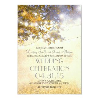 rustic tree & love birds string lights wedding 5x7 paper invitation card