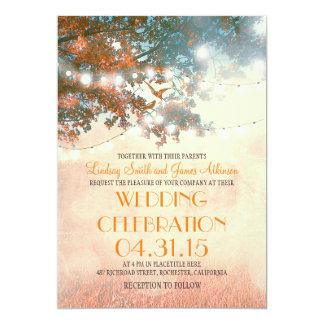 rustic tree & love birds string lights wedding card