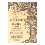 Rustic tree & mason jars rehearsal dinner announcement