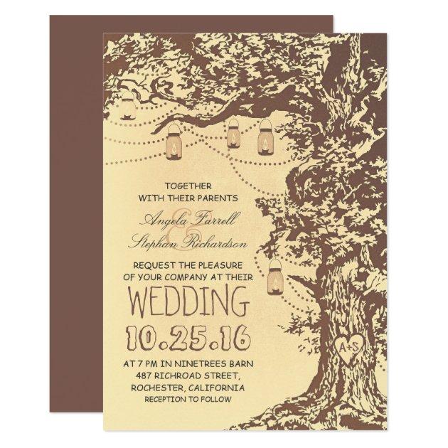 Rustic tree & mason jars wedding invitations