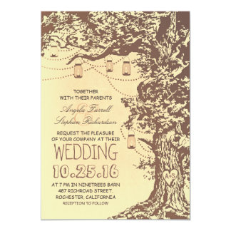 "Rustic tree & mason jars wedding invitations 5"" x 7"" invitation card"