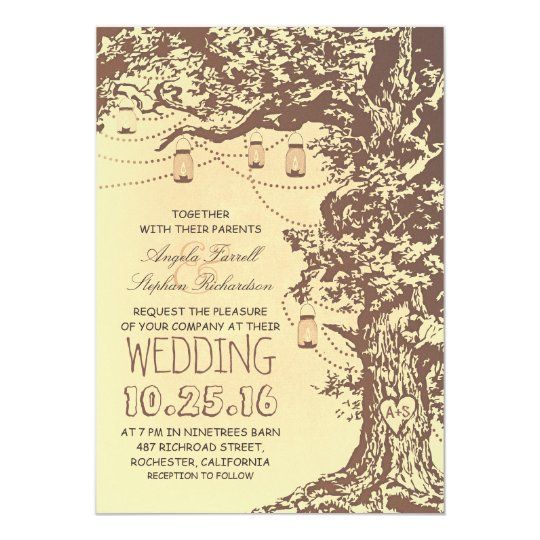 Tree Wedding Invitations: Rustic Tree & Mason Jars Wedding Invitations