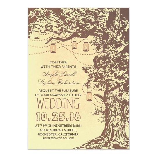 Superb Rustic Tree U0026 Mason Jars Wedding Invitations