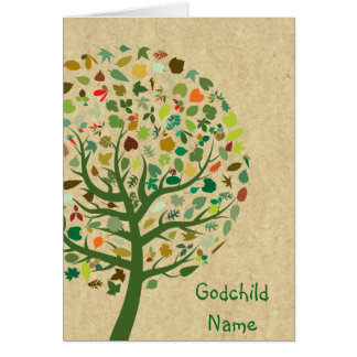 Rustic Tree of Life Teen Goddaughter Personalized Card