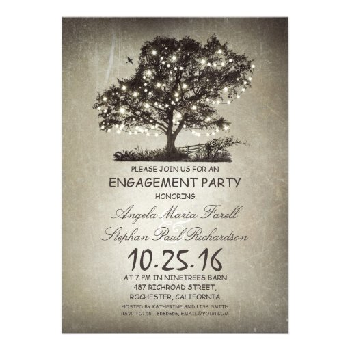 Rustic tree & string lights engagement party announcements