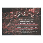 Rustic Tree String Lights Forest Pink Wedding Card