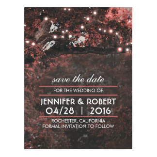 Rustic Tree String Lights Pink Save the Date Postcard