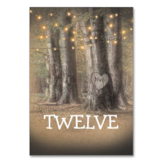Rustic Tree & String Lights Table Number