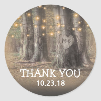 Rustic Tree & String Lights Thank You Classic Round Sticker
