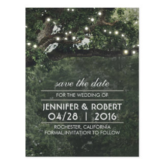 Rustic Tree String Lights Vintage Save the Date Postcard