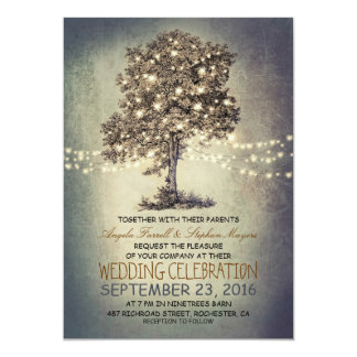"Rustic tree & string lights wedding invitations 5"" x 7"" invitation card"