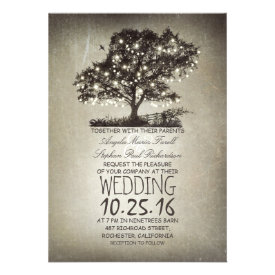 Rustic tree & string lights wedding invitations