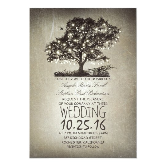 String Lights Tree Rustic Wedding Invitation : Rustic tree & string lights wedding invitations Zazzle