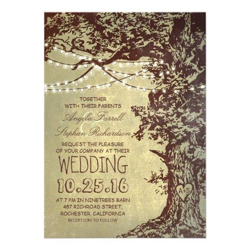 Rustic tree & string lights wedding invitations 5