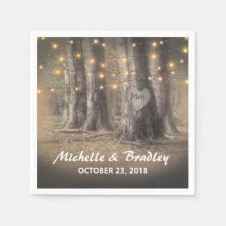 Rustic Tree & String Lights Wedding Napkin