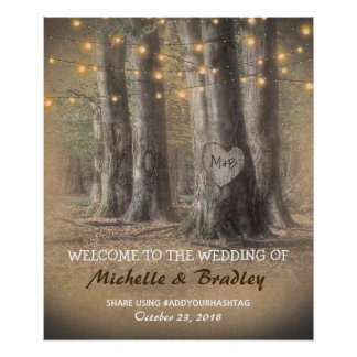 Rustic Tree & String Lights Wedding Poster