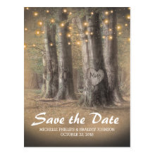 Rustic Tree & String Lights Wedding Save the Date Postcards