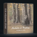 """Rustic Tree &amp; String Lights Wedding Story Album 3 Ring Binder<br><div class=""""desc"""">Rustic country wedding album featuring an enchanting outdoor woodland wedding setting,  glowing string twinkle lights,  a romantic carved heart on the trunk of a tree with your initials,  your names and wedding date.</div>"""
