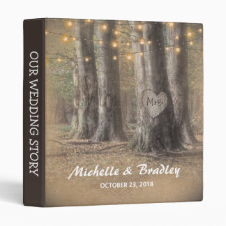 Rustic Tree & String Lights Wedding Story Album 3 Ring Binder