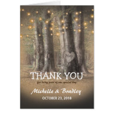 Rustic Tree & String Lights Wedding Thank You