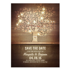 Rustic Tree & String Of Lights Save The Date Postcards