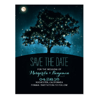 Rustic Tree & String Of Lights Save The Date Postcard