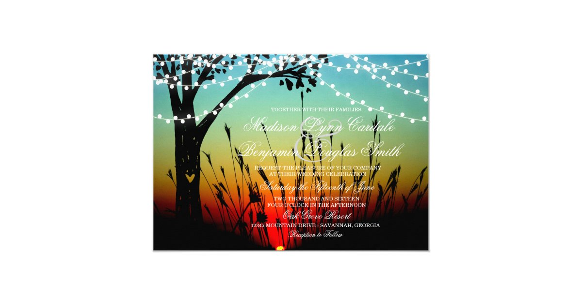 String Lights Rustic Tree : Rustic Tree String of Lights Sunset Wedding Invite Zazzle