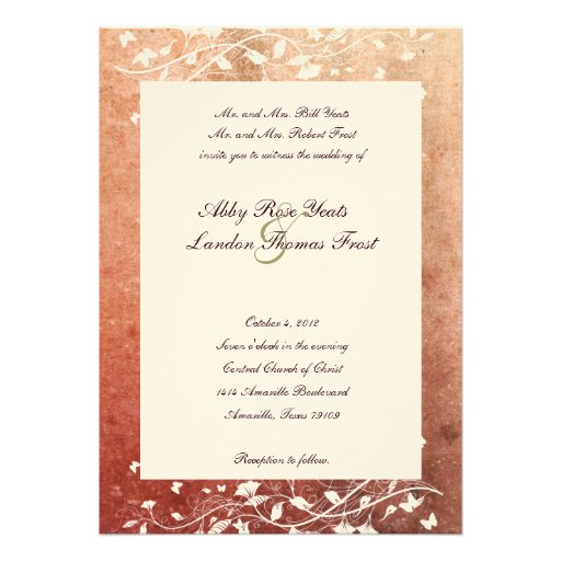 Rustic Tree Warm Red Wedding Invitation
