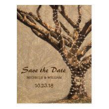 Rustic Tree Wedding Save the Date Postcards