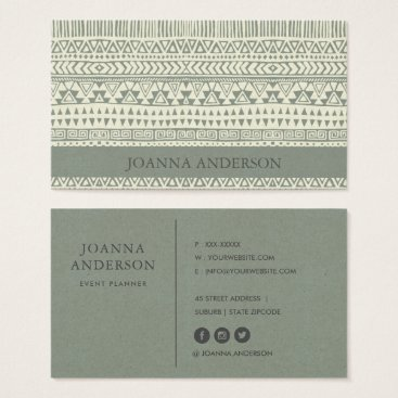 Professional Business RUSTIC TRIBAL GREY BOHEMIAN PATTERN PERSONALIZED BUSINESS CARD