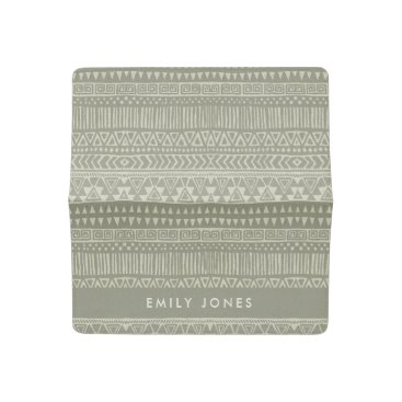 Bride Themed RUSTIC TRIBAL WHITE GREY BOHO PATTERN PERSONALIZED CHECKBOOK COVER