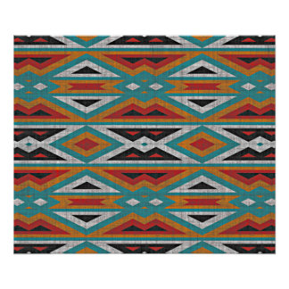 Rustic Tribe Mosaic Native American Indian Pattern Poster
