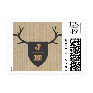 Rustic Trophy Gray Monogram Stamp