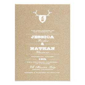 Rustic Trophy White Wedding Invitation