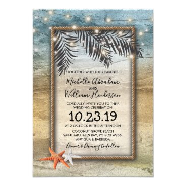 Rustic Tropical Beach Starfish Lights Wedding Card