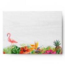 Rustic Tropical Hibiscus Floral Flamingo 5x7 Envelope