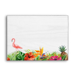 Rustic Tropical Hibiscus Floral Flamingo 5x7 Envelope