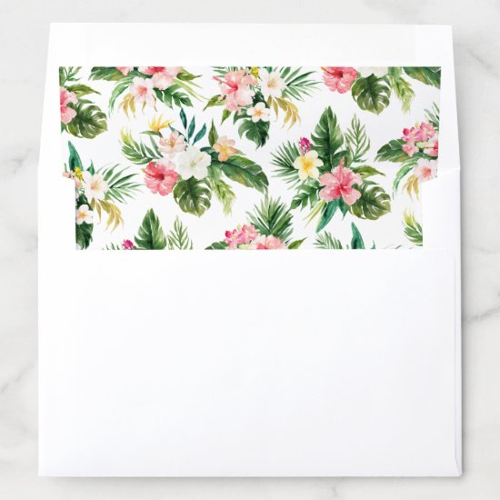Rustic Tropical Leaves Floral Envelope Liner