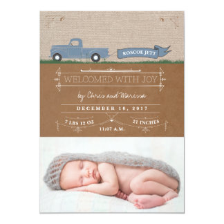 Rustic Truck Baby Boy Announcement Cards