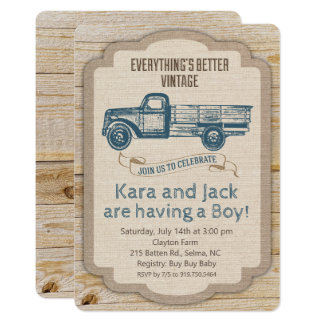 Rustic Truck Boy Baby Shower Invitation
