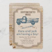 Rustic Truck Boy Baby Shower Invitation