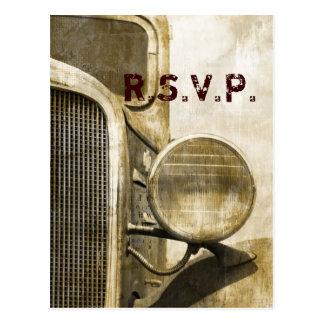 Rustic Truck Western Country Farm Wedding RSVP Postcard