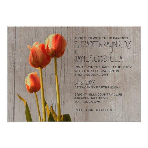 Rustic Tulip Wedding Invitations Custom Invites