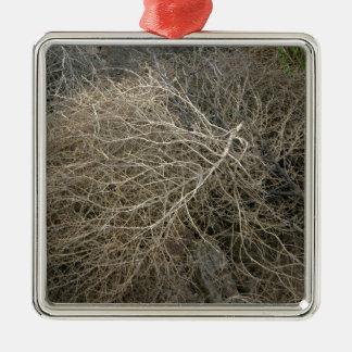 Rustic Tumbleweed Square Metal Christmas Ornament