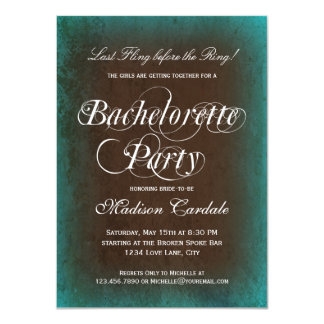 Rustic Turquoise Bachelorette Party Invitations