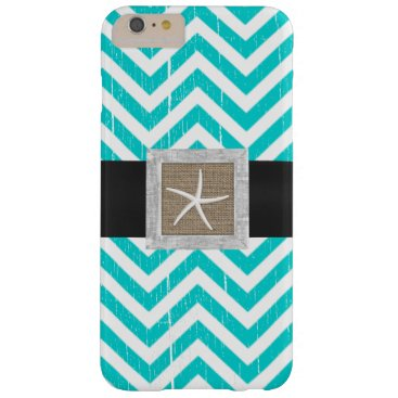 McTiffany Tiffany Aqua Rustic Turquoise Chevron Stripes Starfish Barely There iPhone 6 Plus Case