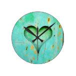 Rustic turquoise heart  design clock